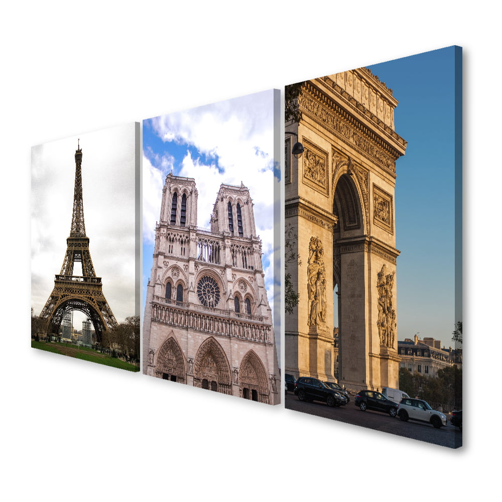 Quadro decorativo Paris 3x1