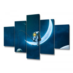 Quadro Decorativo Astronauta Pescador 5x1 - Casa Colorida