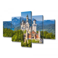 Quadro Decorativo Castelo Bavaria 5x1 - Casa Colorida
