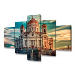 Quadro Decorativo Catedral 5x1 - Casa Colorida