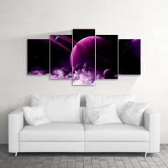 Quadro Decorativo Saturno 5x1 - Casa Colorida